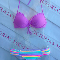 New Sexy Victoria's Secret Fabulous Bandeau Bikini Set 32B XS Sequin Bottoms