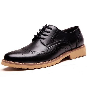Men's Casual Wingtip Black Leather  Shoes