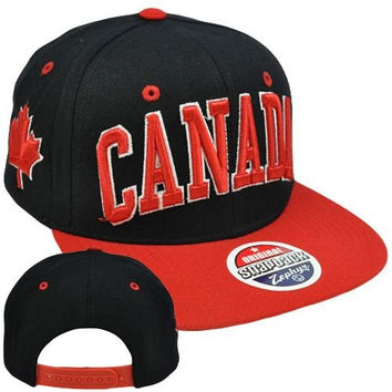 Original Zephyr Snapback Canada Canadian Maple Leaf Black Red Flat Bill Hat Cap