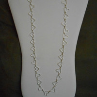 SALE 28 inch long Silver Heart shaped Chain Layering Necklace