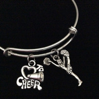 Love to Cheer Cheerleader Expandable Silver Charm Bracelet Adjustable Wire Bangle Handmade Gift Trendy Stacking Bangles