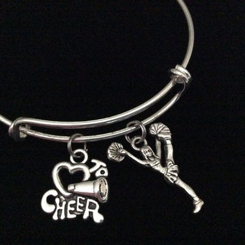 Love To Cheer Cheerleader Expandable Silver Charm Bracelet Adjule Wire Bangle Handmade Gift Trendy Stacking Bangles