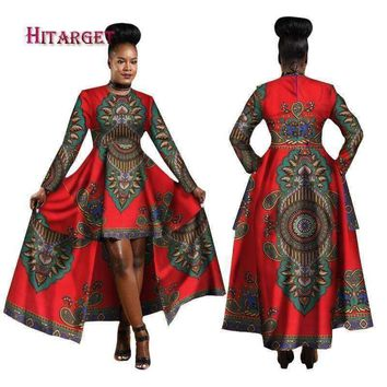 Hitarget 2017 African Dresses for Women Dashiki Cotton Wax Print Batik Sexy Long Dress for Femal Traditional clothing WY1268