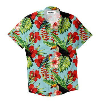 Tropical Bird Short-Sleeve Button Down Shirt