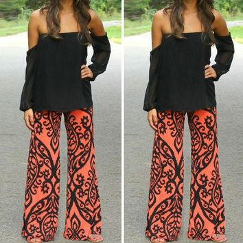 Sought-After Fashion Women Long Pants Loose Elastic Waist Trousers Summer Beach Casual Pants