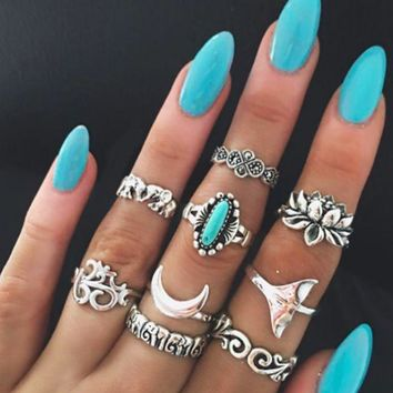 ac NOVQ2A Individuality 9 Piece Set Ring Totem Elephant Turquoise Lotus Fishtail Joint Ancient Silver Ring Set
