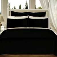 "Black 550TC Olympic Queen Solid Bed in A Bag 90x92"" Egyptian cotton With Down Alternative Comforter"
