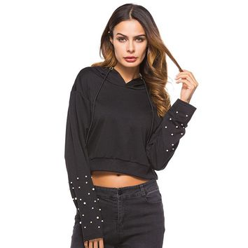 Beading Crop Top Hooded Sweatshirt