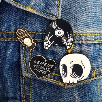 Skull CD-ROM Heart Hand Enamel Pin Brooch Badges for Clothes Bags Backpacks Jewelry Fashion Pins Cute Lapel Gift