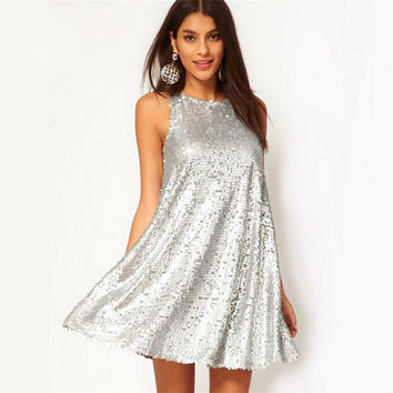 Silver Summer Sleeveless Dolls Dress One Piece Dress [7831028295]