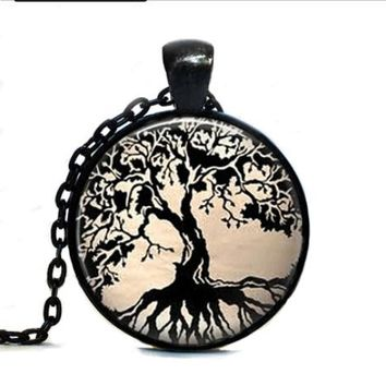 Black Tree Of Life Glass Dome Pendant Necklace