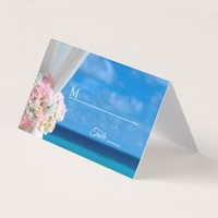 Elegant Floral Beach Summer Wedding Place Card