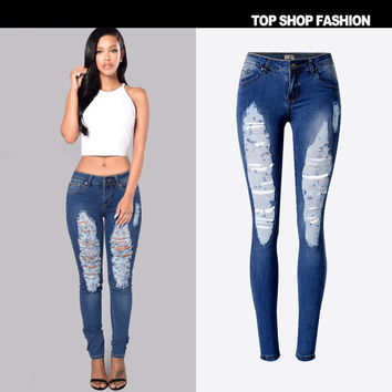 Women's Fashion Hot Sale Stretch Slim Denim Irregular Plus Size Skinny Pants [7976026625]