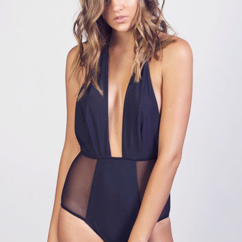 Black High-Waisted One-Piece