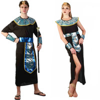 Egyptian Cleopatra Pharaoh King Men Adults Costumes Halloween Party Couple Clothing Fancy Women Dress Exotic Masquerade Party