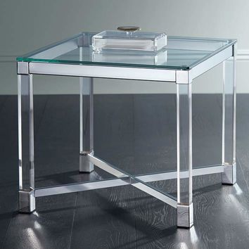 """Chrome and Clear Acrylic 22"""" Square Modern Accent Table - #9T048 