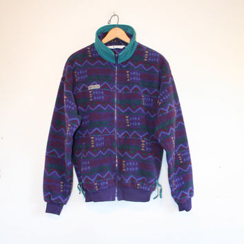 COLUMBIA FLEECE JACKET // size mens small // 90s // all over // columbia brand // outdoors // abstract // zig-zags // vintage!