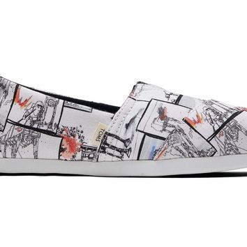 TOMS - Women's Classics Star Wars Collection Ortholite White AT-AT Print Slip-Ons