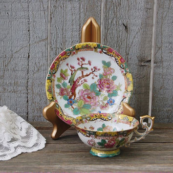 Tea Cup, Porcelain, Vintage, Japanese, Made in Japan, Footed Tea Cup, Hand Painted, Gold Gilt, Flowers, Birds, Collectible