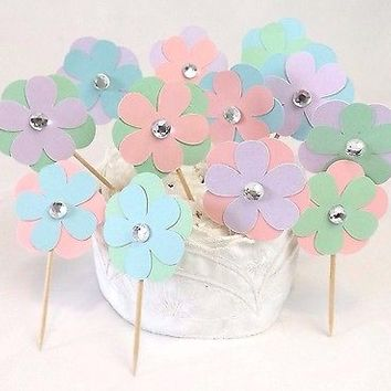 12 Pastel Flower Cupcake Toppers with Rhinestone Bead Center, Party Food Picks