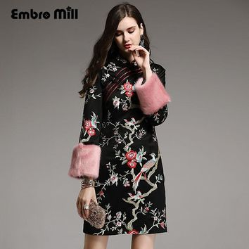 High-end Autumn winter Qipao Chinese style vintage embroidery black/pink/green elegant lady cheongsam slim dress S-XXXL