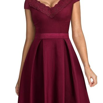 Women's Vintage 1950s Style V Neck Lace Flare A-Line Dress