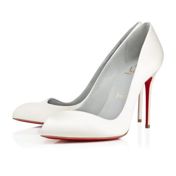 Christian Louboutin Cl Corneille Off White Crepe Satin/satin/lurex Bridal 1120488wh19 -
