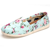 New joker leisure female rural wind set foot floral canva shoes