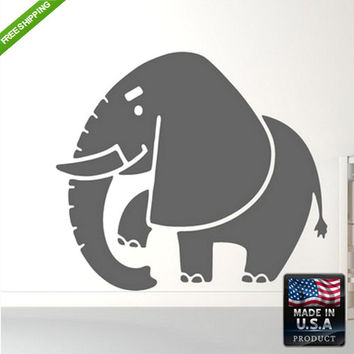 rvz168 Wall Decal Sticker Cute Kids Detailed Elephant Animals Bedroom