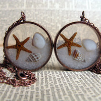 At the Beach Pendant - Sand, shells, and starfish encased in resin with antique copper open back bezel