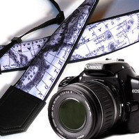 Black and white Camera Strap. World Map Camera Strap. Camera accessories. Photographer gift.