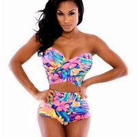 Colorful Tankinis Sets Swimwear High Waist Fashion Sexy Swimsuit female Vintage Ladies Tankinis Sets For Women