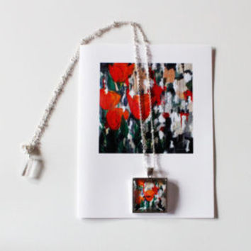"""Orange Poppies"" Necklace and Card Gift Set"
