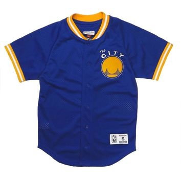 Mitchell & Ness Seasoned Pro Mesh Button Baseball Jersey - Warriors