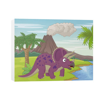 Cute Cartoon Triceratops Canvas Art Print