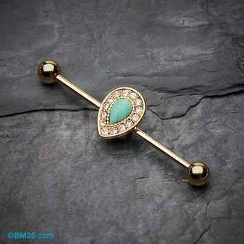 Golden Avice Turquoise Industrial Barbell