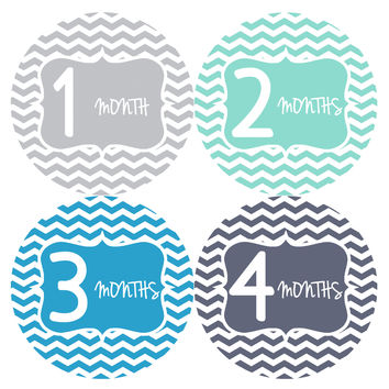 Baby Boy Monthly Milestone Stickers Style #142