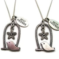 Tiny Bird Necklace Set Best Friends Pet Flower  Necklace Set Bffs Necklace Set Bird Jewelry Set Bird Lovers Gift Flower Jewelry