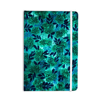 "Ebi Emporium ""Grunge Flowers III"" Teal Floral Everything Notebook"
