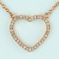 0.10ct Round Pave Diamonds 14K Rose Gold Heart Pendant Necklace - 18""
