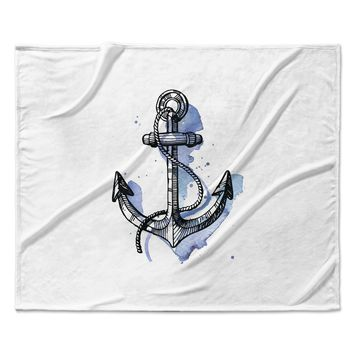 "Kess Original ""Anchor Watercolor "" Blue White Fleece Throw Blanket"
