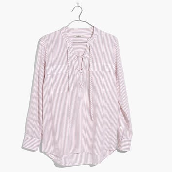 Terrace Lace-Up Shirt in Vera Stripe : | Madewell
