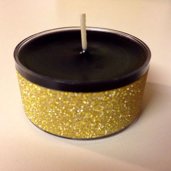 12 Black and gold tea light candles black wax gold sparkle candles black and gold wedding candles gold sparkle tea lights gold wedding tarts