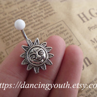 Lovely Sun Belly Button Ring, Fly Belly Button Ring, Crystal Belly Ring,