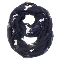 Galloping Horse Infinity Scarf - Navy