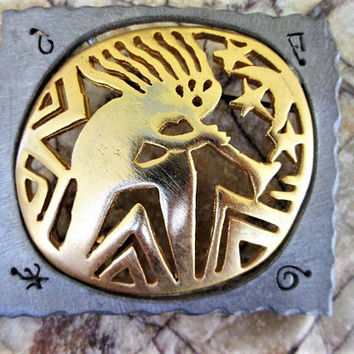 Ultracraft Kokopelli Pewter Brooch Southwestern Vintage Jewelry Gift Collectible