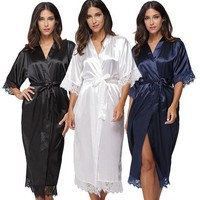 DCCKL72 Summer Lace Patchwork Satin Kimono Robe Sexy Sleepwear Lingerie Chemises Women Silk Long Nightgown Wedding bridesmaid Robes