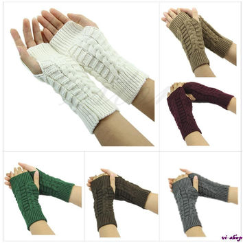 Pretty Stylish Winter Hand Arm Crochet Knitting Wool Mitten Fingerless Gloves Free shipping -Y107