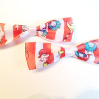 The cat in the hat Ribbon Bows (set of two)