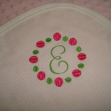 Monogram Thermal Waffle Weave Cotton Blanket -  Approximately 32 in X 40 in